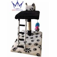 Rascador para Gatos - 2 pisos + Escalera Blanco y Negro